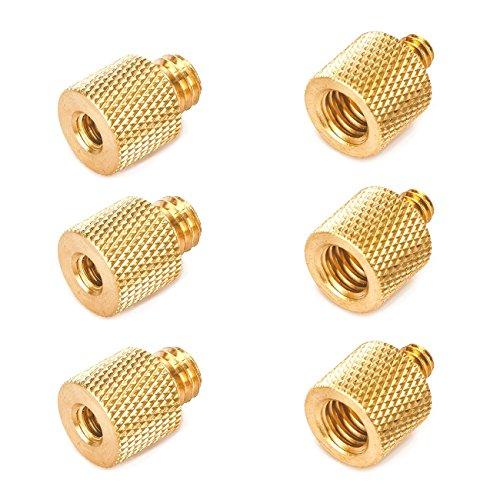 Tarion - Kit adattatore vite in ottone per riduttore di filettatura 1 4 femmina a 3 8 maschio con 3 8 femmina a 1 4 maschio, convertitore in ottone per fotocamera treppiede Flash supporto