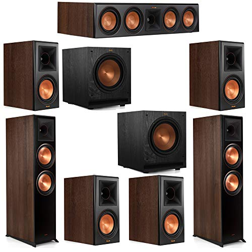 Lowest Price! Klipsch 7.2 Walnut System 2 RP-8000F Floorstanding Speakers, 1 Klipsch RP-404C Center ...