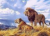 Pintar Por Números Kits,León Animal Kits De Pintar Acrílica Diy Para Adultos Niños Principiantes Fácil Sobre Lienzo 16X20 Con Pinturas Y Pinceles (Sin Marco)