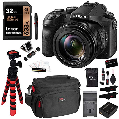 Panasonic LUMIX DMC-FZ2500 Digital Camera 4K Video, Lexar 32GB High Speed SD Card U3, Battery, Charger, Ritz Gear Tripod, Cleaning Kit and Accessory Bundle