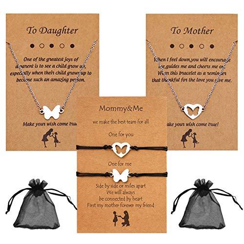 Mama Pulsera Plata Collar de Momia de Hija Collar Ajustable de Acero Inoxidable para Mamá de Dos (4 Piezas)