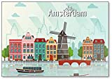 Ilustración de Amsterdam imán para nevera