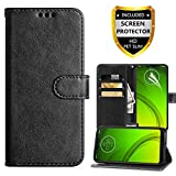 Moto G7 Power Wallet Case,Motorola Moto G7 Supra Case,PU Leather Magnetic Folio Flip Case Built-in Card Slots Full Body Protection Phone Case with Screen Protector for Moto g7 Power-Black