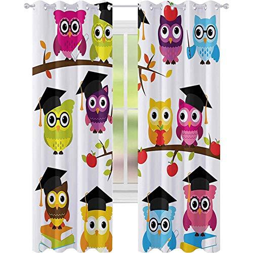 Cortinas opacas para dormitorio, grupo de búhos inteligentes con sombreros de libros, imagen de graduación escolar, 52 x 108, cortina opaca para sala de estar, color negro, morado y magenta