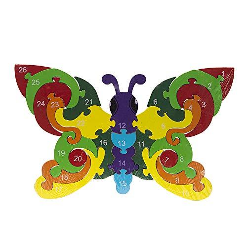 Byoeko Puzzle Figuras de Madera con numeros y abecedario (Mariposa)