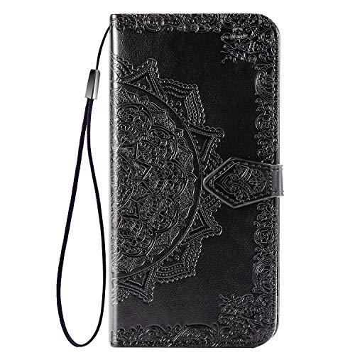Fertuo Hülle für Realme 5 Pro, Handyhülle Leder Flip Hülle Tasche mit Kartenfach, Magnet & Standfunktion [Mandala Blume Muster] Handy Schutzhülle Ledertasche für Realme 5 Pro, Schwarz
