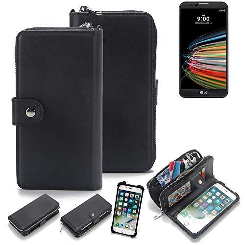 K-S-Trade 2in1 Handyhülle Für LG Electronics X Mach Schutzhülle und Portemonnee Schutzhülle Tasche Handytasche Hülle Etui Geldbörse Wallet Bookstyle Hülle Schwarz (1x)