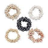 5 pezzi moda perla elastica capelli cravatta capelli trecciata perla elastica supporto coda di cavallo, per donne o ragazze, accessori per capelli bianco, rosa, nero, marrone, cachi