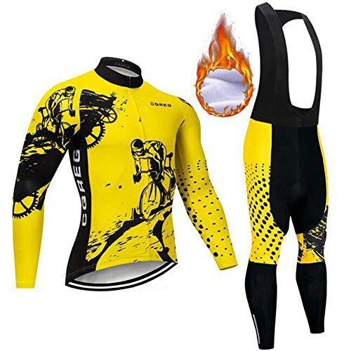 ZEH Herren Thermal Fleece Radtrikot Set, windundurchlässige Lange Hülse In voller Reißverschluss Bike Anzüge mit 9D Gel Padded Pants (Farbe: F, Größe: XS) FACAI (Color : D, Size : Small)