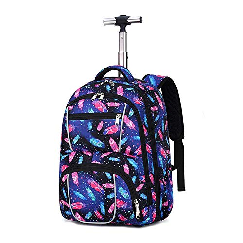 Suytan Myalq Trolley Backpack with Wheels for Children, Trolley Bag Suitcases Kids Luggage 30X22X50 cm Colorful Feathers