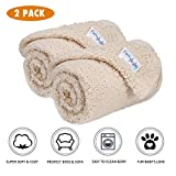 Premium Fluffy Fleece Dog Blanket, Soft and Warm Pet Throw for Dogs & Cats (2-Pack Small 24x32'', Beige)