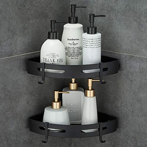 Hoomtaook Adhesive Corner Shelf Bathroom Shower Caddy Organizer for Kitchen Toilet No Drilling 2-Tier Bathroom Corner Shelves Shower Caddies