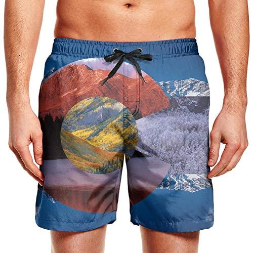 Colorado State Flag Poster Mens Swimming Trunks Printed Swim Shorts for Men Zipper Beach ShortsL