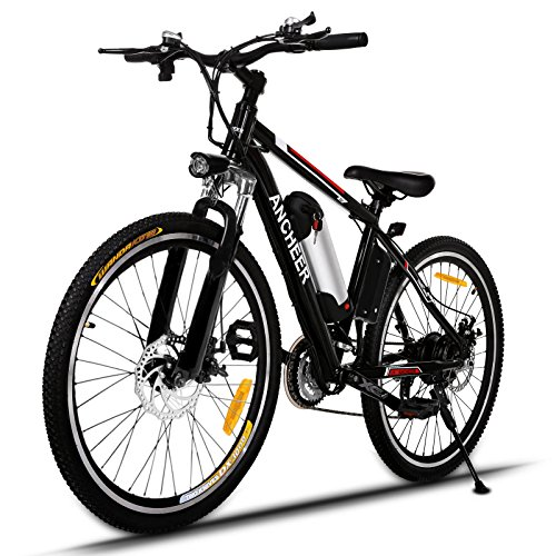 Ancheer Bicicletta Elettrica Bici da Montagna con Batteria al Litio da 26 Pollici 36V 250W 21 Velocità Sospensione Premium e Cambio Shimano 26\'\' Nero