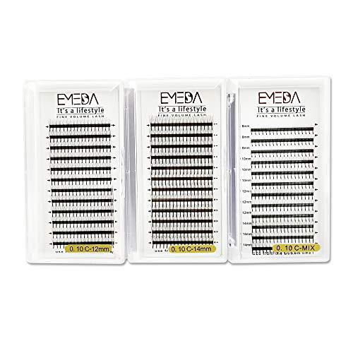 Extensiones de pestañas de volumen 3D 3 bandejas C curl .10 mm Pestañas de volumen prefabricadas Pestañas individuales 12 mm 14 mm de longitud mixta pestañas de racimo EMEDA