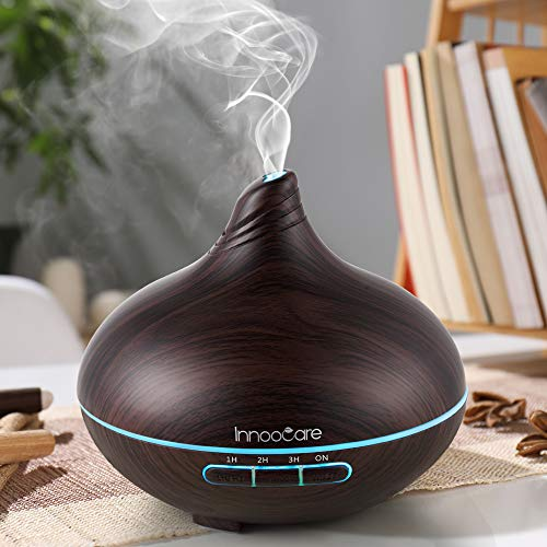 Diffusore di Aromi 300ml InnooCare Umidificatore a Ultrasuoni per Aromaterapia con Venature in Legno con 7 LED Colorati per Casa, Yoga, Ufficio (Tipo 1)
