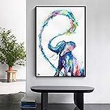 wZUN Animal Abstracto Aerosol de Agua bebé Elefante Lienzo Pintura impresión Arte de la Pared para la decoración del hogar de la Sala de Estar 60x80 Sin Marco