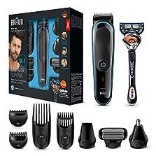 Braun 9-in-1 Multi-Grooming-Kit MGK3085, Barttrimmer und Haarschneider, Körperhaartrimmer, Ohren- und Nasenhaartrimmer, Präzisionstrimmer, lebenslang scharfe Klingen, schwarz/blau©Amazon