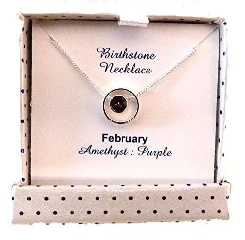equilibrium Halskette mit schwimmendem Ring mit Kristall-Geburtsstein Februar