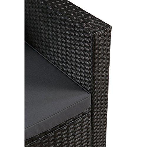 ArtLife Polyrattan Lounge Punta Cana L schwarz mit Bezügen in Dunkelgrau | Gartenmöbel-Set mit Sofa, Hocker und Tisch für 4-5 Personen - 5