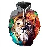 BYWLHNB Mohekann Nuova Moda Lion Hoodie Mens 3D Stampante Felpa Casual Pullover Animale Soprabito Giovane Tuta Tops Streetwear,Multi,XXL
