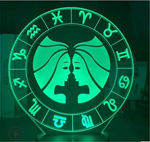Luce notturna 3D LED Illusione Ottico Lampada Gemini 16 Colori con Telecomando 3D Bambini Lampada come un regalo perfetto per ragazzi e ragazze GOT on Birthday