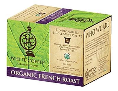 White Coffee Organic Single Serve Coffee, French Roast, 10 Count