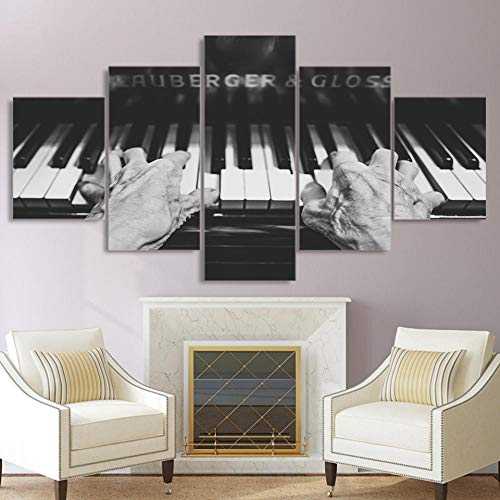 BBXJJ muurkunst, 5 panelen, canvas, muurkunst, decoratie voor het huis, 5 panelen, Old Man Plays The Piano Modern HD Print Paintings Modulaire schilden 10x15 10x20 10x25cm white