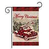 Hexagram Christmas Garden Flags,Double Sided Burlap Red Truck with Snow Winter Flag,Rustic Merry Christmas Decoration,Xmas Quote Christmas Yard Flag Seasonal Outdoor Flag 12 x 18 Prime