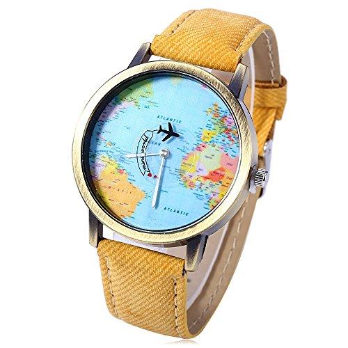 Leopard Shop Reloj de pulsera de cuarzo con esfera de mapa del...