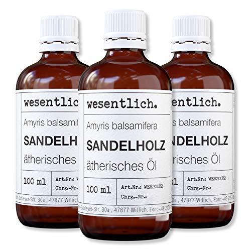 wesentlich. Sandelholzöl (Amyris Balsamifera) - ätherisches Öl - 100% naturrein (Glasflasche) - u.a. für Duftlampe und Diffuser (3x100ml)