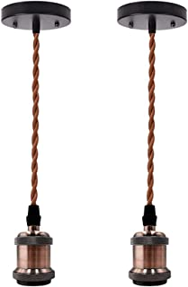 KIRIN Industrial Pendant Light Single Hanging Ceiling Lampholder Vintage Edison Mini Kit Edison Socket E26/ E27 Base with Twisted Brown Cloth Cord for Home Kitchen Island Corridor 2 Pack (Coffee)