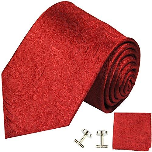 Cravate rouge uni paisley ensemble de cravate 3 Pièces (100% Soie Cravate + Mouchoir + Boutons de manchette)