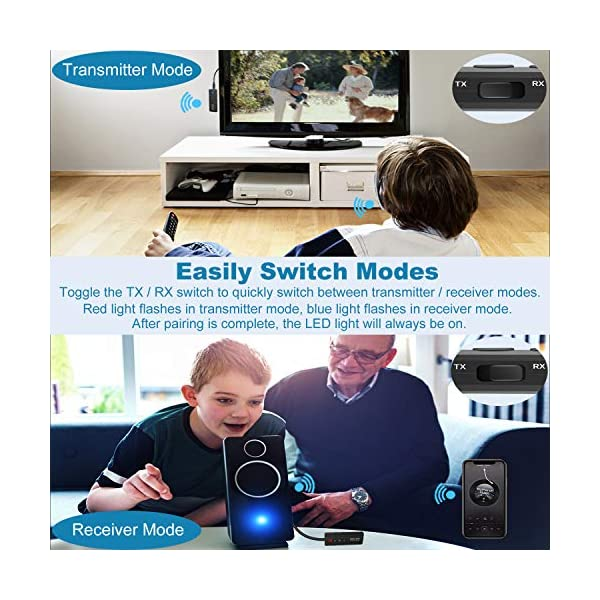 Bluetooth 5.0 Transmitter Receiver 3-in-1, Isobel Wireless 3.5mm Audio Adapter for TV PC Headphones Home Sound System Car/CD-Like Voice Enjoyment 6