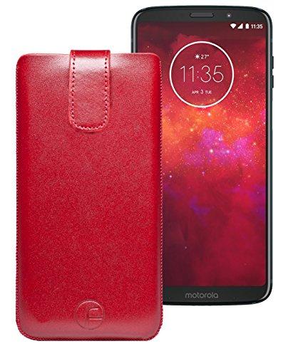 Favory Original Etui Tasche für Motorola Moto z3 Play Leder Etui Handytasche Ledertasche Schutzhülle Hülle Hülle Lasche mit Rückzugfunktion* in Rot