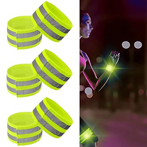 ALUYF 6 Stück Reflektorband Reflektierendes Armband Sicherheit Reflexband Reflektierendes Armband Reflektor Outdoor Joggen Radfahren Fahrrad Laufen Reiten Elastisch Leuchtband - Neon-Gelb