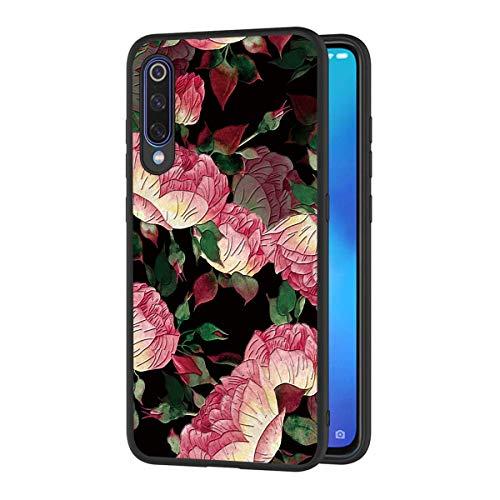 Yoedge Capa para Samsung Galaxy A50 / Galaxy A30S / Galaxy A50S, capa traseira preta de gel de silicone TPU com design floral 3D para meninas e mulheres, capa protetora fina à prova de choque (flores)