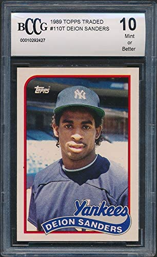 OFFicial site 1989 Topps Traded Baseball #110T Grade Rookie Card Mail order Sanders Deion
