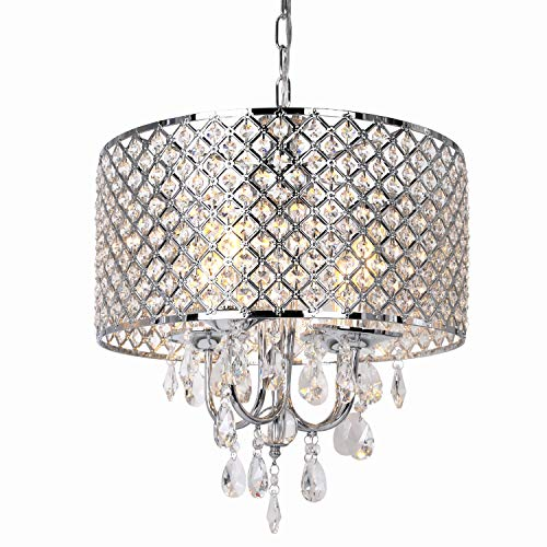 Hykolity 16.5 inch 4-Light Crystal Chandelier Ceiling Light with Beaded Round Drum Metal Shade, Antique Chrome Finish Pendant Lighting, Hanging Lamp for Hallway, Kitchen, Dining Room, Living Room