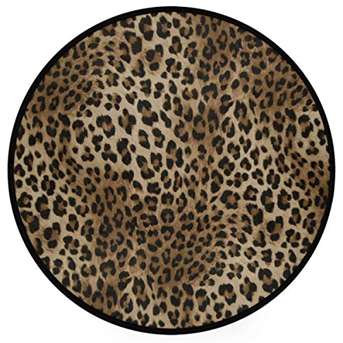 """Sexy Leopard Print Doormat Wild Animals Snakeskin Zebra Pattern Round Floor Mat Washable Non-Slip Indoor Outdoor Area Rug for Bedroom Living Room Home Decor 36"""""""