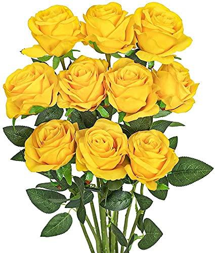 Rosas Artificiales,Ramo de Flores Artificiales Rosa Tallo Largo Abierta de Seda decoración de hogar de Bodas 10PCS (Amarillo)