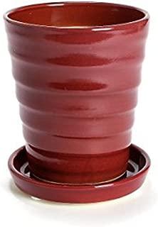 鉢 三河焼 KANEYOSHI 【日本製/安心の国産品質】 陶器 植木鉢 三河焼 フラワーロード ワインレッド 7号皿付