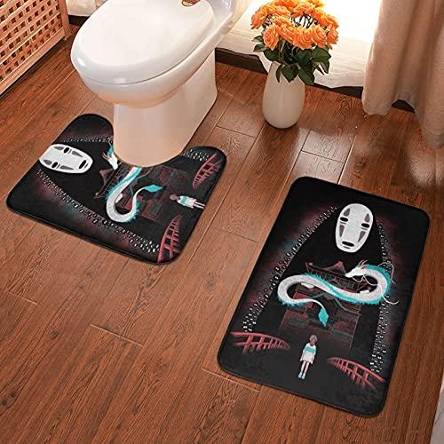 Anime Spirited Away No Face Man Juego de 2 alfombrillas de baño y pedestal, antideslizantes, lavables, suaves