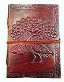 Chic & Zen - diario, agenda, blocchetto per appunti, Vera Pelle, Vintage, Pavone, 13 cm * 17 cm, carta premium