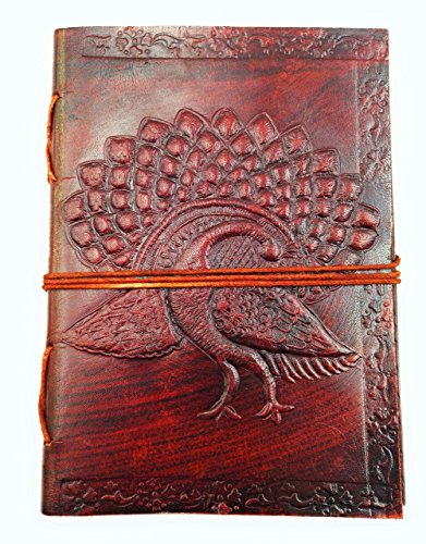 Chic & Zen–Notizbuch/Block Note/Tagebuch/Buch, Echtleder, Vintage, Pfau 13cm...