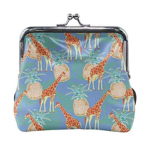 Monederos de la selva tropical jirafa y piña linda hebilla hebilla monederos hebilla cambio monedero monedero
