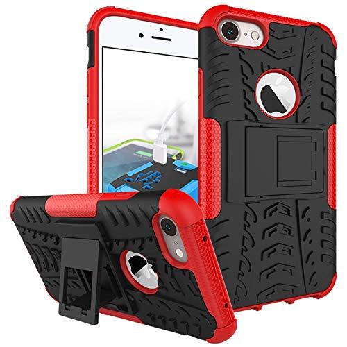 pinlu Custodia per iPhone 7 / iPhone 8 (4.7 Pollice) Smartphone Armatura Rugged Heavy Duty Cover Doppio Strato TPU + PC Antiurto Protettiva Case Pneumatico Modello Rosso