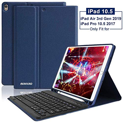 iPad 10.5 Keyboard Case with Pencil Holder for iPad Air 3 2019/iPad Pro 10.5' 2017,Magnetically Bluetooth Keyboard,iPad Case with Detachable Keyboard (Dark Blue)