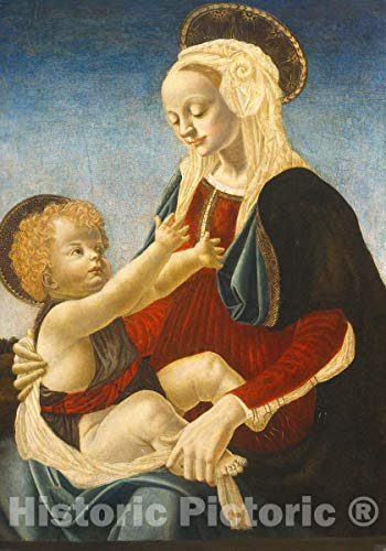 Art Print : del Verrocchio, Madonna and Child, c.1475, Historic Wall Décor : 16in x 24in