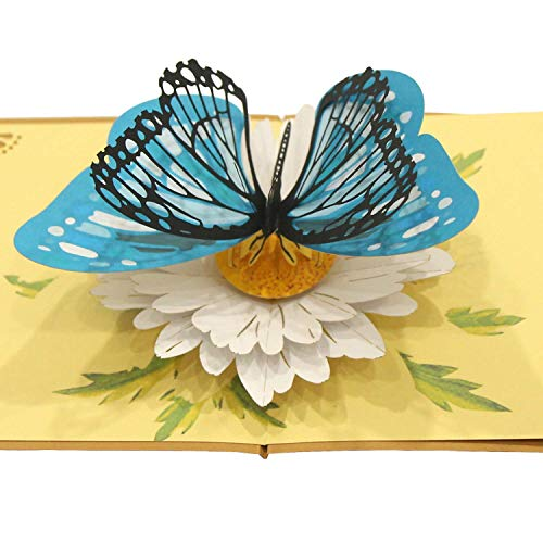 CUTEPOPUP 3D Butterfly Pop Up Card, Thank You Butterfly Cards Pop Up, Pop Up Card with Butterfly, For Spring, Birthday, Graduation, Get Well, All Occasion, For Mom, For Friends, For Granddaughter